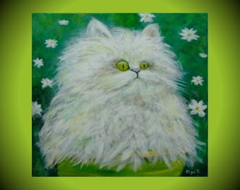 White cat art canvas paintings girls room decor lovers cat gift Cute animals painting cat illustration baby room artwork white green art