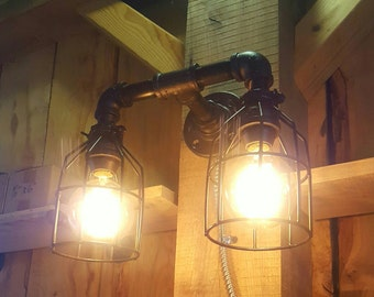 Rustic Industrial Lighting- Double Sconce Wall Light- Iron Pipe Light- Wall light- Barn light- FREE SHIPPING!