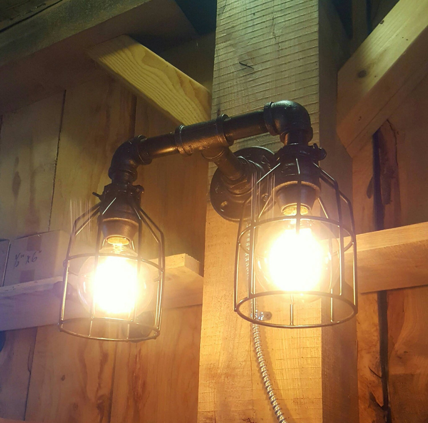 Rustic Industrial Lighting Double Sconce Wall Light Iron