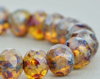 Czech Glass Rondelles - Czech Glass Beads -  Crystal Transparent with Picasso Fullcoat - 7x5mm - 25 Beads