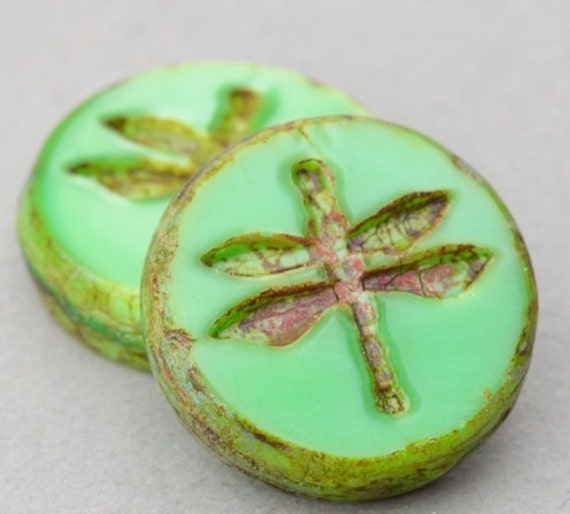 Czech Glass Beads - Dragonfly Coin Beads - Table Cut Beads - Nature Beads - Turquoise Green Opaque with Picasso - 17mm Bead - 2 or 10 Beads