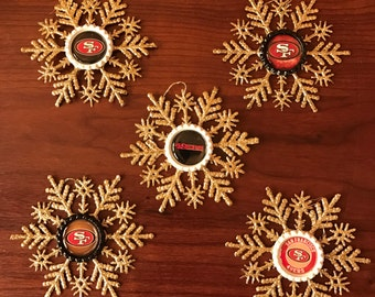 INVENTORY CLEARANCE SALE! Snowflake Christmas Ornament Set | San Francisco 49ers | Set of 5