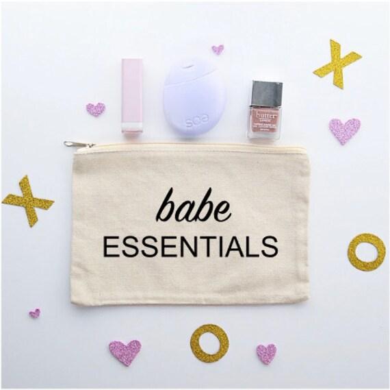 Canvas Cosmetic Bag: Babe Essentials - Makeup Bag
