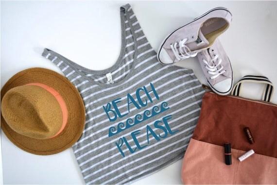 Beach Please Ocean Flowy Boxy Tank