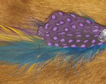 Opal Aura Quartz Hair Barrette Clip with Feathers
