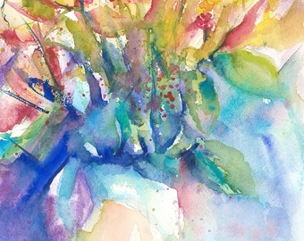 Flowers Original Watercolour Painting Floral Impressionist Watercolor Colorful Wall Art Valentines Day sale Gift idea