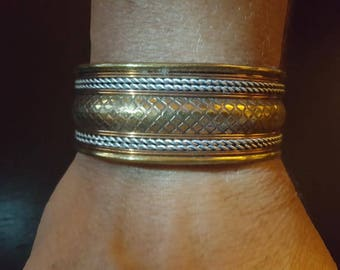 Decorative Silver, Brass and Copper Bracelet