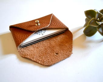 Brown leather card holder / Brown envelope card holder / Brown leather business card case / Genuine leather