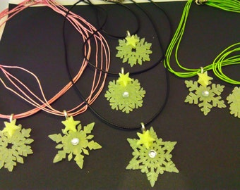 Pink cord, glow in the dark Christmas necklace, Glow in the dark pendant, glow in the dark necklace, snowflake necklace, glow in the dark