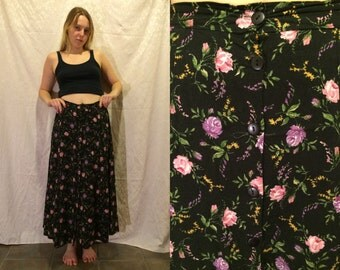 1990s Black Floral Button Up Maxi Skirt Size Small