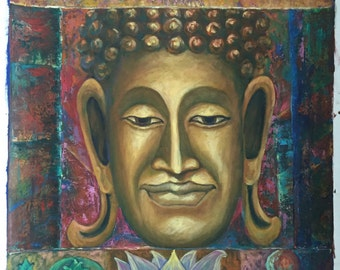 thai buddha enlightenment oil painting