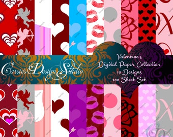"Valentine's Day Digital Paper Set 12"" x 12"""