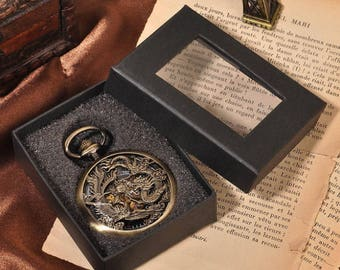 Mechanical Analog Pocket Watch With Necklace Chain Dragon&Phoenix