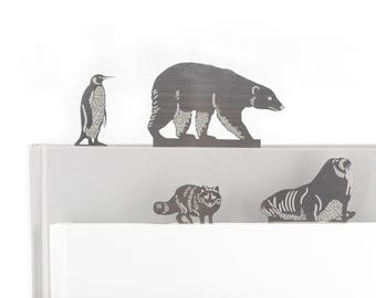 Arctic animal bookmarks, Walrus, Polar Bear, Emperor Penguin, Arctic fox