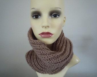 Hand knit beige ribbed cowl, 100% merino wool
