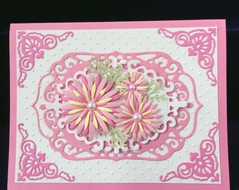 Pink 3D flower card, unique card, birthday card,  Mother's day card, thinking of you card, blank inside card, luxury card,