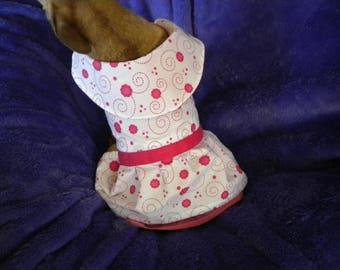 White & pink Dog dress- Floral pattern