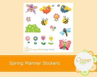 Spring Planner Stickers, Spring Birds and Flowers, Planner Stickers