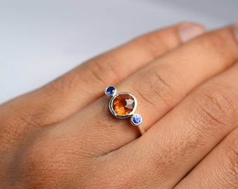 Hessonite Garnet Ring in 925 Sterling Silver-Garnet and Blue Sapphire Three Stone Ring-Blue Sapphire ring-Multistone Ring-Ready to Ship