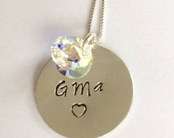 Sterling Silver 'GMa' Necklace with Swarovski Charm.