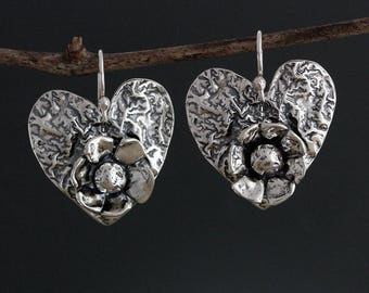 Sterling Silver Heart and Flower Earrings - Heart Earrings - Sterling Silver Earrings - Valentines Day - Floral Earrings - Sherry Tinsman