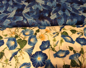 Timeless Treasure Morning Glory Series Fabric  by the half yard blue, yellow