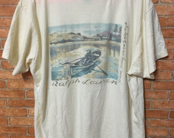 Vintage Polo Ralph Lauren Pocket Rare Scenic Picture Tshirt