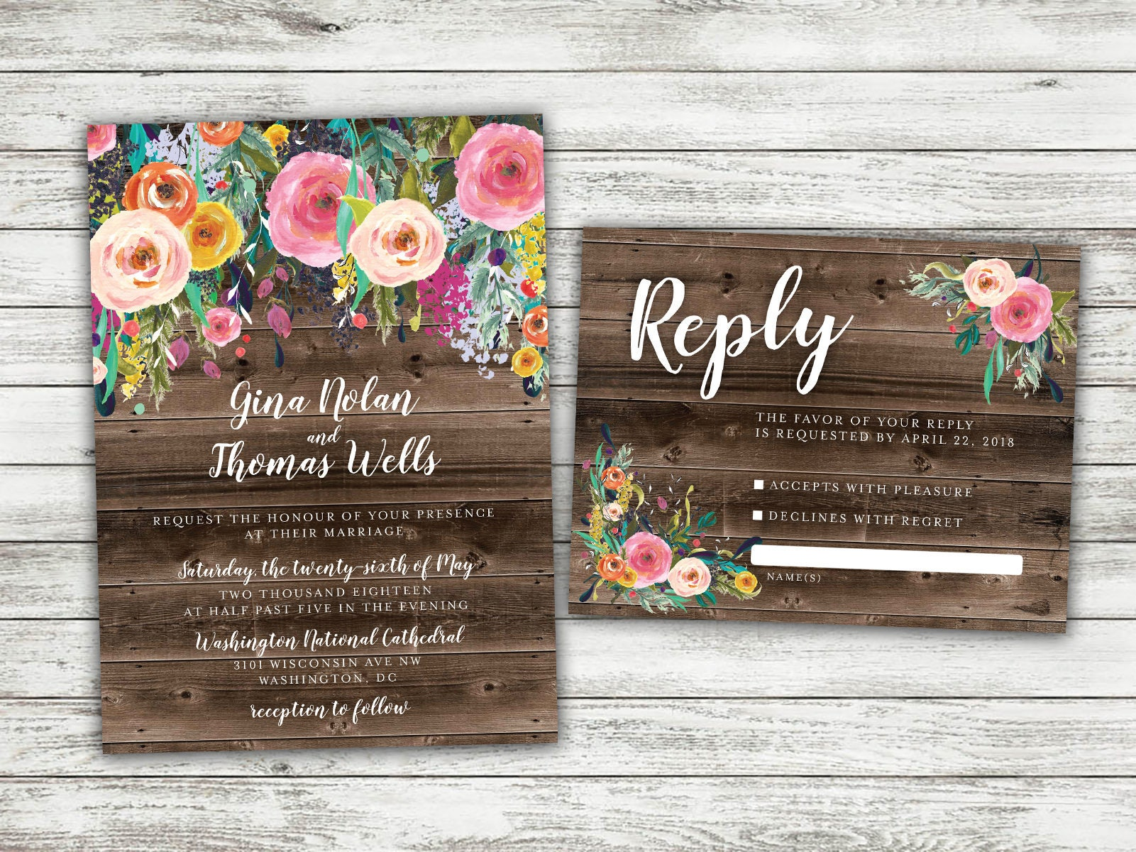 BOHO Country Wedding Invitation, Rustic Floral Wedding Invitation ...