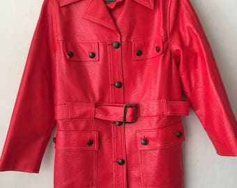 Real classical jacket from nylon & vinyl, stylish jacket vintage long jacket modern jacket casual style women's red jacket size- medium.