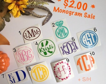 SALE - Monogram decal / Monogram sticker / Monogram car decal / Vinyl decal /Vinyl monogram/Yeti decal/Car decal/Laptop decal/Yeti cup decal