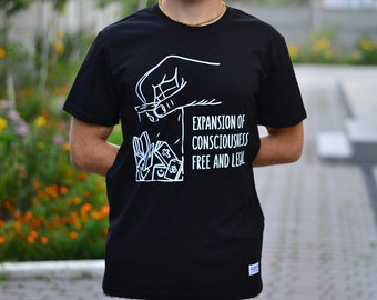 """T-shirt """"Expansion of consiousness"""" (reading, meditation, legalize, mantra, spirit, soul, God, happy, absolute truth, yoga, book, esoteric)"""