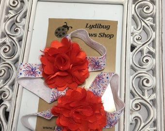 Barefoot Sandals - Baby Sandals - Infant Sandals - Flower Sandals - Fireworks and Flowers