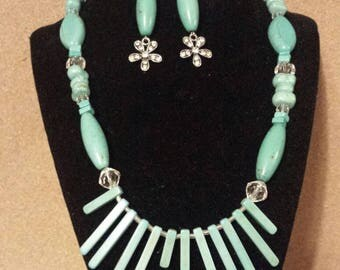Turquoise Waterfall Necklace Set