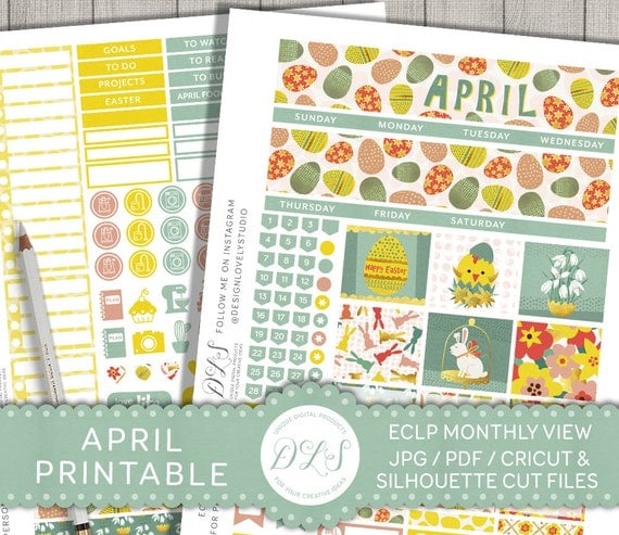 April Monthly Kit Erin Condren, April Monthly View, Easter Planner ...