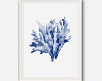 Coral wall art, Nautical art, Coral wall decor, Blue coral poster, Sea wall Art, Sea coral art, Indigo Watercolor poster, Coastal wall print