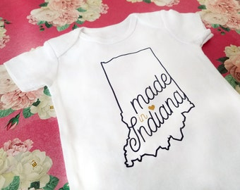 Indiana Baby Shirt, Made in Indiana Infant Bodysuit, Hoosier State Outline Newborn to Toddler Body Suit, Pregnancy Announcement Photo Prop