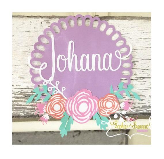 Shop Floral Monograms At Littlebrownnest Etsy Com: Floral Monogram Decal Customizable Decal Vinyl Sticker