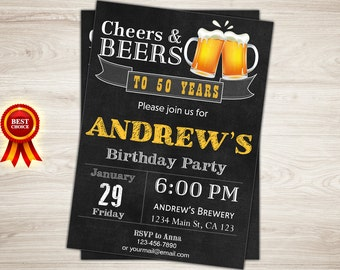 50th Birthday Invitation for Men. 30th 40th 60th. Cheers and Beers Invitation. Surprise Birthday Invitation. Printable Digital Beer Invite
