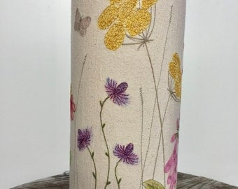 Hand painted and free motion embroidered floral cylinder table lamp  - summer flowers