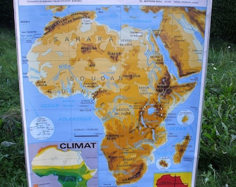 """The relief and the African States"" geographical school map"