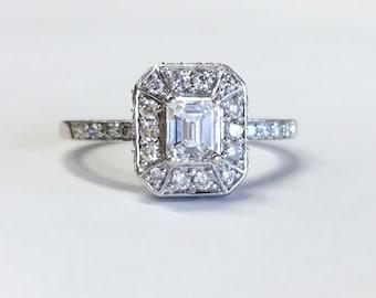 14k White Gold 1 CT Diamond Wedding Ring Halo Setting Size 6.75