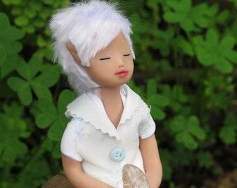 elf art doll. Elf of clarity. Magic. Handmade. Art doll. Quartz. Fantasy. Ooak. Fairy. Healing.
