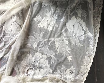 "Beautiful Anna French poppy flora cotton lace curtain panel soiled sample second from Victorian Lace mill 72"" x 72"" drop 1.8m"
