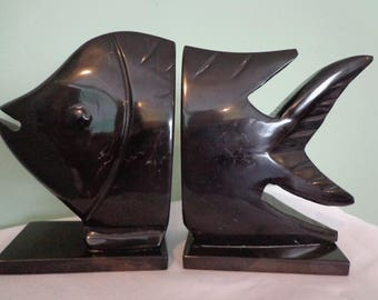 Fish Bookends Black Onyx Stone