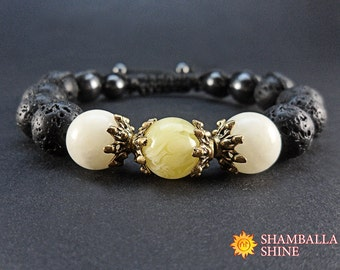Beaded black bracelet Gift idea for women Healing gemstone jewelry Black yellow bracelet Meditation women bracelet Onyx Amber Lava stone