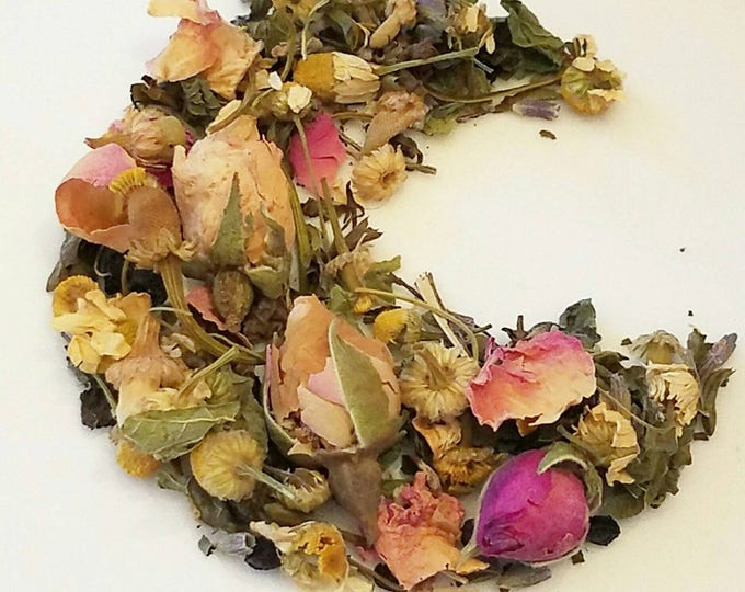 Featured listing image: Bedtime Awaits Me - Bedtime Tea, Nighttime Tea, Loose Leaf Tea, Organic Herbal Tea, Lemon Balm, Chamomile, Rosebuds, Lavender, Elderberry