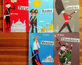 Paris (1960), Londres (1960), Rome (1960), Venise (1961), Edimbourg (1961) - 5 illustrated books by M.Sasek in French