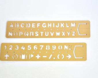 Brass Stencil Ruler for Traveler's Notebook, Brass Ruler, Drawing Stencil - PJ109