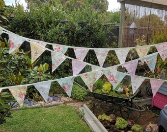 Fabric Bunting,Shabby Chic themed Wedding Banner, Baby Shower Flag Garland,  Double Sided Flags Princess Roses 2015