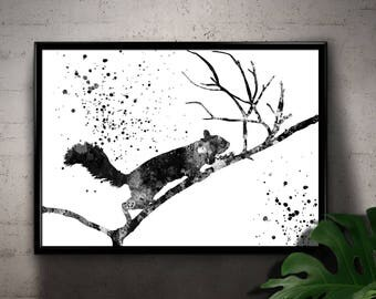 Squirrel on a Branch, Fluffy Squirrel, Forest life, Black and White Printable Wall Art, Home Decoration, gift  Instant Download (06)